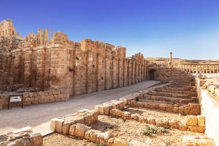 corinthian column: the ancient Roman city of Gerasa, Jerash, Jordan