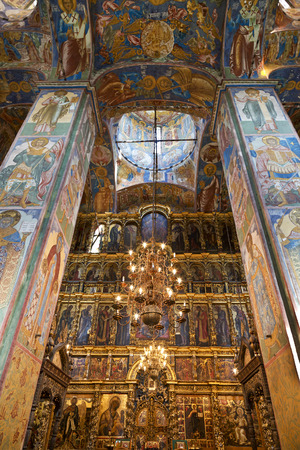 YAROSLAVL, RUSSIA - JULY 17, 2014: The frescoes in the Church of Elijah the Prophet in Yaroslavl, Russia