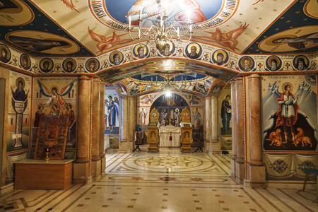 Interior of the Romanian underground Orthodox Church of the Nativity of the Virgin in Jericho, Palestine Editorial