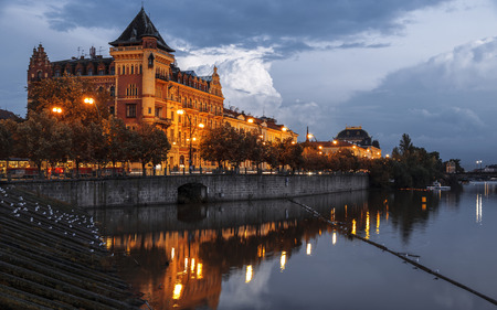 View of the embankment of Smetana night, Czech Republic Stock Photo