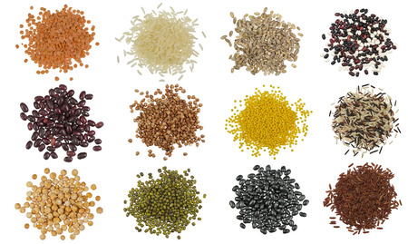 vigna: Collection Set of Cereal Grains and Seeds Heaps Stock Photo
