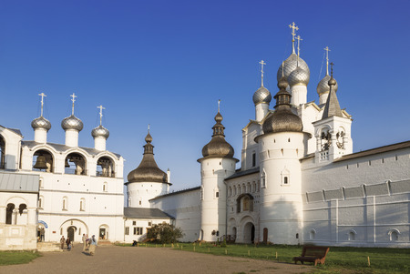 Belfry, Holy Gates and the Resurrection Church with belfry on the cathedral Square of the Kremlin of the Rostov Veliky