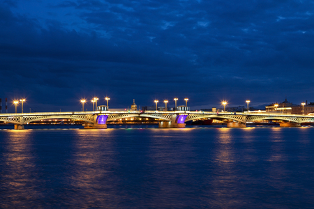 blagoveshchensky: The Blagoveshchensky (Annunciation) Bridge during the White Nights in St. Petersburg, Russia Stock Photo