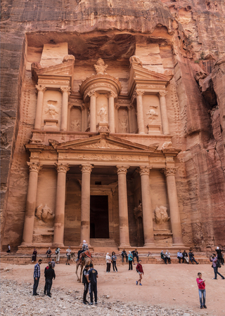 nabataean: Tourists at the temple of El Khazneh in the capital of the Nabataean Kingdom, Petra, Jordan