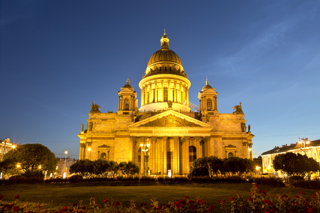 St. Isaacs Cathedral in Saint-Petersburg at night, Russia.