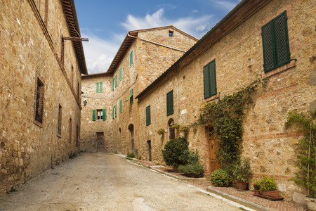 san quirico: The street in San Quirico dorcia. Italy Stock Photo