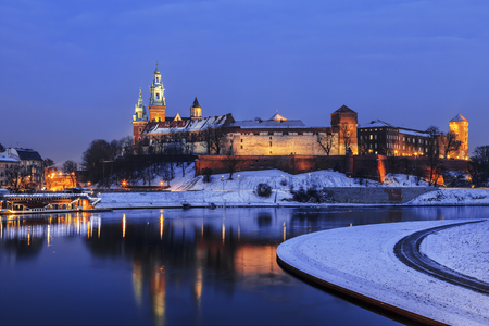 Royal Wawel Castle by night in Krakow, Poland