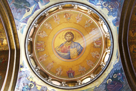 JERUSALEM, ISRAEL - DECEMBER 05, 2015: Interior and Dome of Holy Sepulchre Cathedral with Jesus Mosaic, Jerusalem Editorial