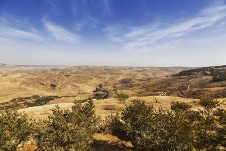 historias de la biblia: The view from mount Nebo in the Holy Land: the Jordan valley, the Dead sea. Jordan Foto de archivo