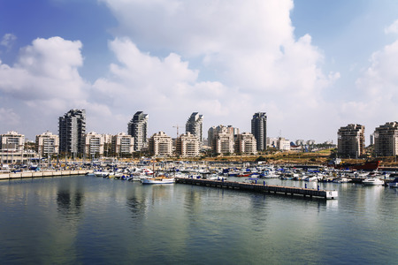 A view of the city of Ashdod from the Mediterranean sea, Israel