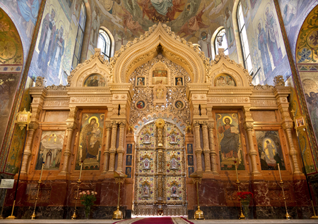 SAINT PETERSBURG, RUSSIA - JULY 06, 2015: Interior of the Church of the Savior on Spilled Blood in St. Petersburg, Russia. Altar