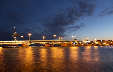 The Blagoveshchensky (Annunciation) bridge during the white nights in St. Petersburg, Russia