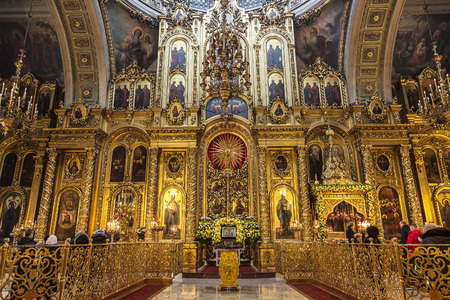 The Cathedral of the Epiphany in Yelokhovo, the iconostasis. Moscow, Russia