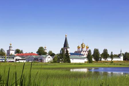 sobor: Russian orthodox church. Iversky monastery in Valdai, Russia.