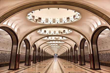 sub station: MOSCOW, RUSSIA - FEBRUARY 16, 2014: Interior of the Moscow metro station Mayakovskaya