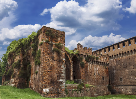 sforzesco: The walls of the medieval fortress of Sforzesco, Milan, Italy