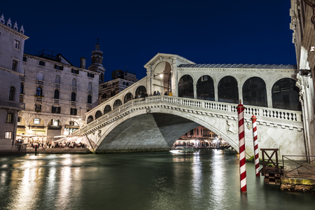 Night Venice. Rialto Bridge. Italy