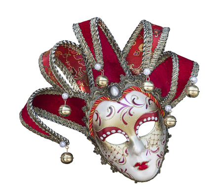 Venetian carnival mask on white background isolated close up