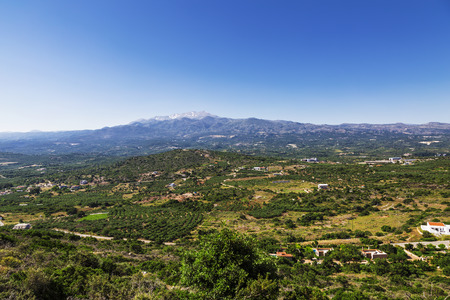 The panorama of the countryside of the island of Crete, Greece Stock Photo