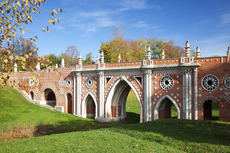 Large Bridge or Gothic Bridge in Tsaritsyno museum-reserve in autumn, Moscow, Russia Editorial