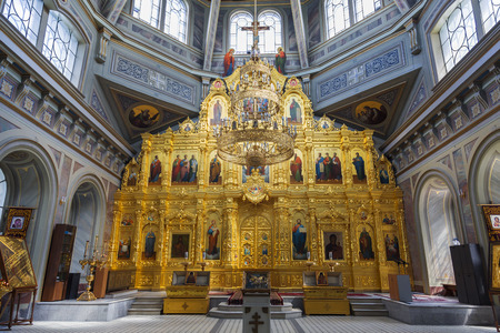 The Ryazan Kremlin. Nativity of Christ Cathedral, interior, iconostasis Editorial