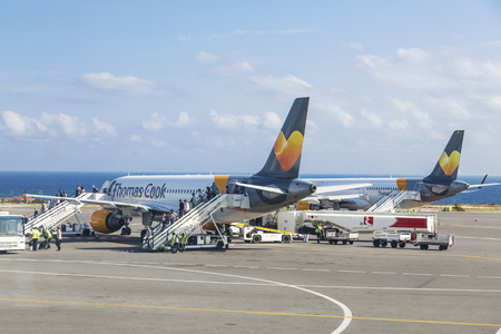 The aircraft of the airline Thomas Cook Airlines Scandinavia landed at the airport of Heraklion named after Nikos Kazantzakis, Crete, Greece