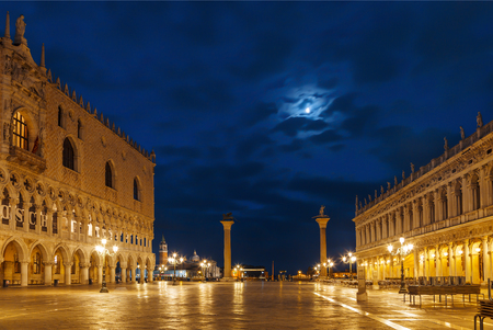 Early in the morning at Piazza San Marco near the Doges Palace (Palazzo Ducale), Venice, Italy Stock Photo