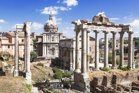 View of the ruins of a Roman forum with famous sights, Rome, Italy