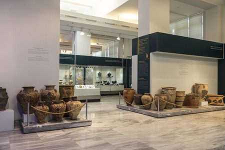 The hall of the Archaeological Museum of Heraklion with exhibits of the period of the Minoan civilization, Crete, Greece