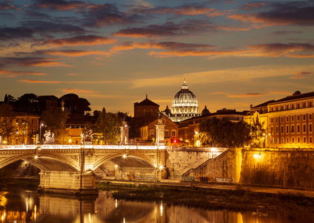 The night view of Rome from the Ponte Santangelo, Italy
