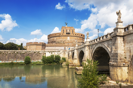 View of the Castel Santangelo or Mausoleum of Hadrian and Ponte Santangelo, Italy