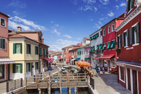 Bright colourful houses in Burano island on the edge of the Venetian Lagoon. Venice, Italy Editorial