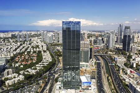 Top view of Tel Aviv, Ayalon Highway and Ramat Gan district, Israel