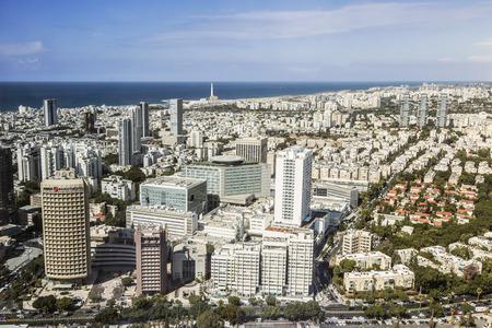 Top view of Tel Aviv from the observation deck of the round tower Azriel center, Israel Editorial