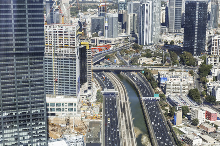 Top view of Tel Aviv, Ayalon Highway and Ramat Gan district Editorial