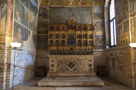 The altar in the Baptistery in Padua, and is adjacent to the Cathedral of Padua, dedicated to the Dormition of the virgin, Padua, Italy