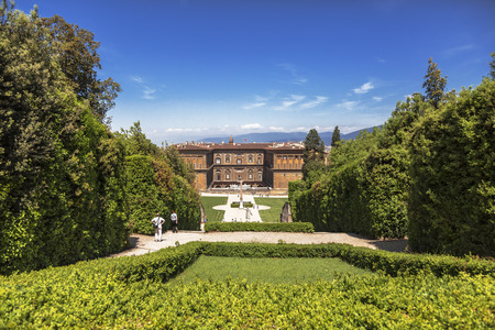 The Boboli gardens with views of the Palazzo Pitti. Florence, Italy