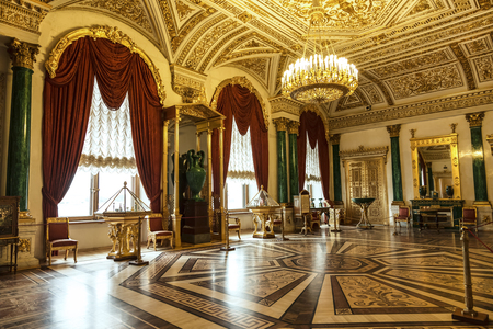 St. Petersburg, Malachite drawing room in the Winter Palace, the Hermitage. Russia