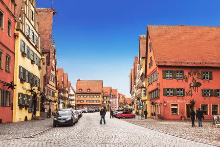 Street in the town of Dinkelsbuhl, Bavaria, Germany