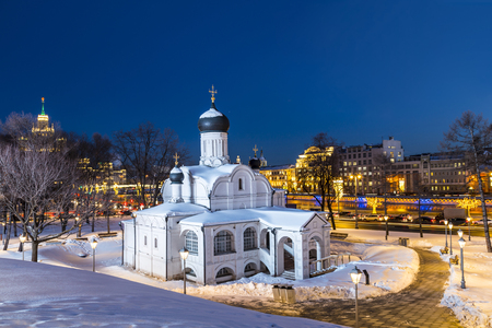 Moscow. The Church of the Conception of Anna, the beginning of the 16th century. Historical district Zaryadye at late evening. Russia Stock Photo