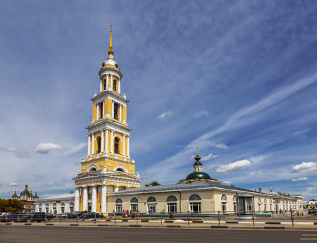 Kolomna, the building of the trading rows and the Church of St. John the theologian with the bell tower. Moscow region, Russia