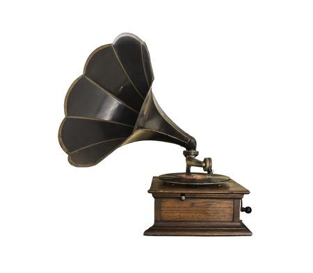 black vintage gramophone on white background isolated Standard-Bild