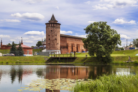 Panorama of the Kremlin in Kolomna and its reflection in the Kolomenka river, Moscow region, Russia