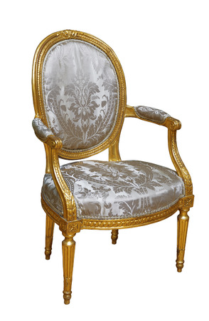 Luxury vintage chair on white isolated background Фото со стока