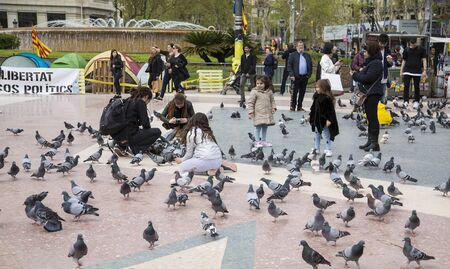 Tourists in Plaza Catalunya in Barcelona feeding the pigeons and taking pictures of them. Spain