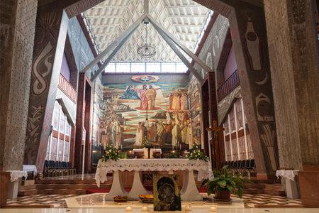 NAZARETH, ISRAEL - DECEMBER 06, 2015: Interior the Church of the Annunciation in Nazareth, Israel