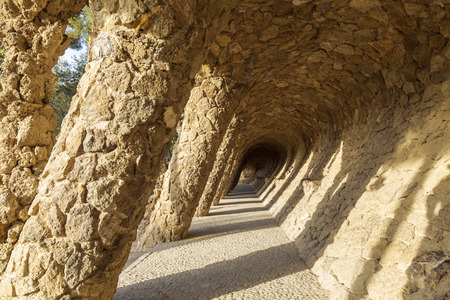 Walking alley in Park Guell in Barcelona, Catalonia, Spain Imagens