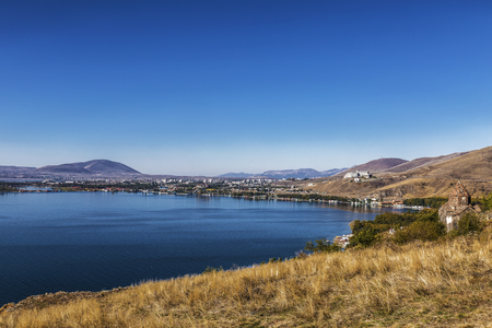 Sevanavank monastery on the North-West coast of lake Sevan, Gegharkunik province, Armenia. Imagens