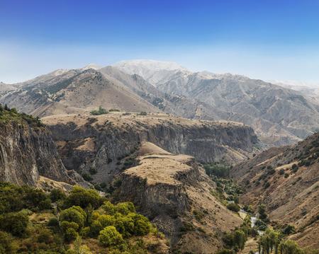 Top view of Garni gorge in Kotay district. Armenia