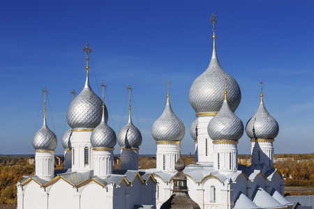 Top view of the domes of the cathedrals in the Kremlin,  Rostov the Great, Russia